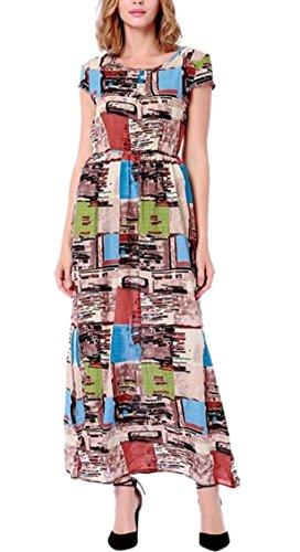 Jaycargogo Dress Short Sleeve Crewneck Boho 5 Floral Summer Maxi Women's HqPAxwrH