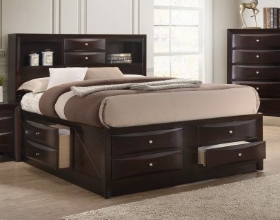 Emily Dark Cherry Wood Queen Captains Bed by Crown Mark