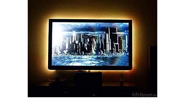 TV LED retroiluminado para televisor, monitor, pantalla LED tiras con puerto USB (2 x 50 cm 60 LED) blanco decorativo [Clase energética A + +]: Amazon.es: Electrónica
