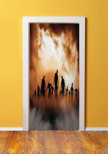 Halloween Decorations 3D Door Sticker Wall Decals Mural Wallpaper,Zombies Dead Men Body in the Doom Mist at Night Sky Haunted Decor,DIY Art Home Decor Poster Decoration 30.3x78.9300,Orange Black -