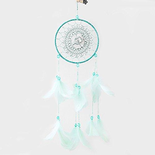 - Fresh Mint Green Color Hollow Flower Design Handmade Dream Catcher