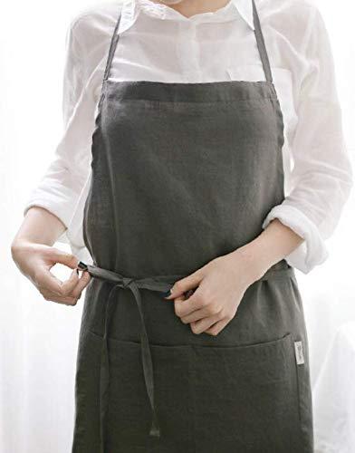 French APRON [Linen Mocha Dark Gray] Premium Gift
