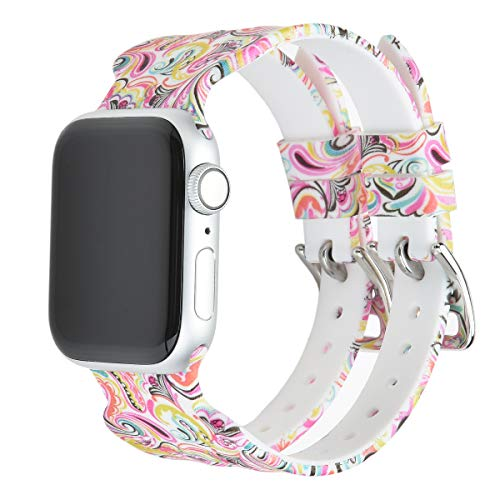Sunmitech Compatible with Apple Watch Band 38mm 40mm 42mm 44mm, U-Shape Replacement Silicone Bracelet Strap Watch Bands Compatible with Apple Watch Series 4 3 2 1, Printed Floral Pattern Men Women