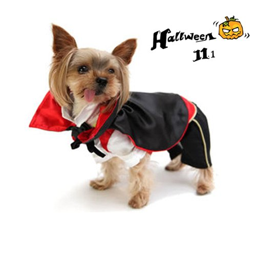 Milkee Soft Pet Dog Puppy Christmas Halloween Pumpkin Vampire Devil Dress Up Hooded Jacket Suit for Pet Cosplay Costume Party Gift (Vampire, (Devil Suit Costumes)