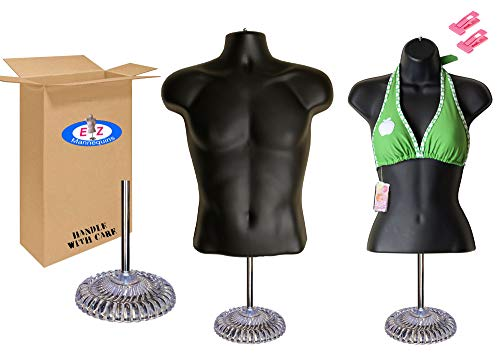 Male + Female Mannequin Torso, Dress Form Body Display, w/Economic Plastic Stand for Counter, Use for Temporal Photos or Design, Easy to Assemble and Store, S-M Sizes. ()