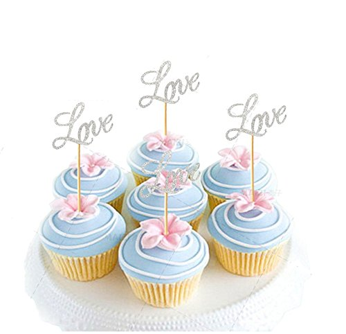 Astra Gourmet Pack of 20 Glitter Paper LOVE Cupcake Toppers, Wedding Bridal Shower Birthday Decoration Fairy Cake Topper - (Gourmet Cupcake)