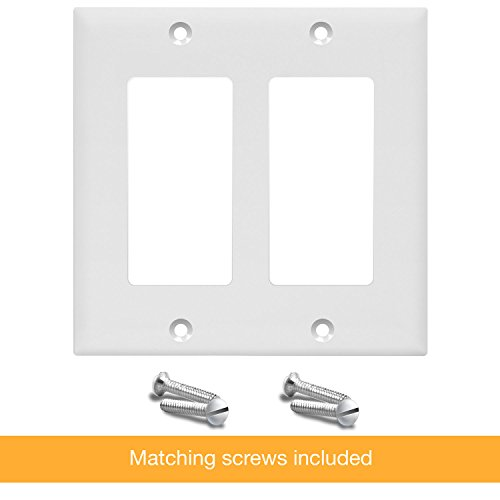 Enerlites 8832-W-10PCS Decorator Light Switch/Receptacle Outlet Wall Plate, Standard Size 2-Gang, Polycarbonate Thermoplastic,White (10 Pack) by Enerlites (Image #7)