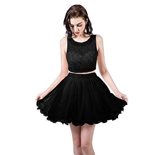TANGFUTI Two Piece Homecoming Dresses Short Beaded Tulle Formal Prom Gowns 010 Black US2