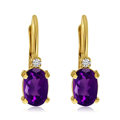 Gold Oval Amethyst Earrings - 14k Yellow Gold Oval Amethyst and Diamond Leverback Earrings