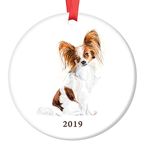Papillon Christmas Ornament 2019 Adorable Toy Papillon Lapdog Watercolor Image Ceramic Keepsake Present Family Pet Shelter Rescue Adopted Pooch 3
