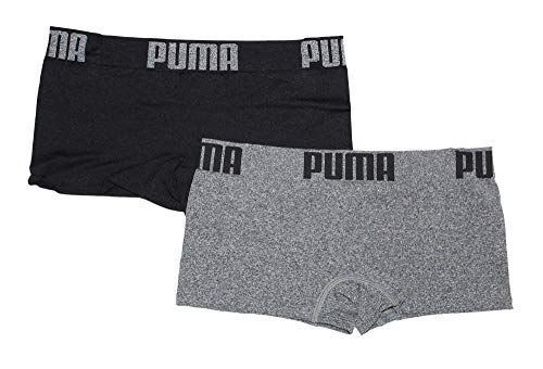 PUMA Women's 2-Pack Seamless Wide Waistband Big Logo Super Soft Sport Stretch Boyshort Panty, Grey/Black, Medium