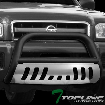 Topline Autopart Matte Black Bull Bar Brush Push Front Bumper Grill Grille Guard With Brush Aluminum Skid Plate For 99-04 Nissan - Bully Brush Guard