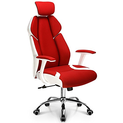 Ergonomic Office Chair Gaming Chair High Back Fabric Desk Computer Task Home Chair Headrest: Spring Seat White Frame Swivel Adjustable tilt Recline Stylish Design and Color, Neo Chair (JUBILANT-H Red)