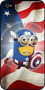 Captain America Minion- Hard Black Plastic Snap - On Case-Apple Iphone 4 - 4s - Great Quality!