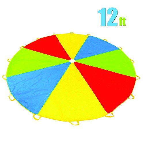 12 Foot Play Parachute with 16 Handles - New & Improved Design - Multicolored Parachute for Kids by Play Platoon