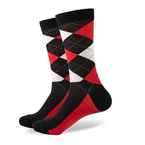SummerTies Argyle Socks, Mens Dress Socks, Mid Calf Short - Black, Red, (Black Red White)