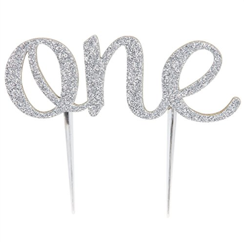 Brcohco 1st First Birthday One Cake Topper Decoration Single Sided Double Sliver Glitter -