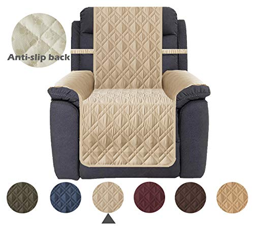 Ameritex Waterproof Nonslip Recliner Cover Stay in Place, Dog Couch Chair Cover Furniture Protector, Ideal Loveseat Slipcovers for Pets and Kids (Pattern1:Beige, Recliner)