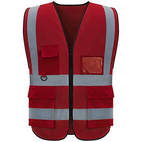 Shmimy Reflective Vest Class 2 Safety Vests ANSI with 5 Pockets Zipper High Visibility Construction Uniform Red XL