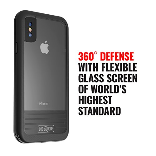 Waterproof Case for iPhone X - Dog & Bone Wetsuit Impact Rugged iPhone X Case (Black/Black)