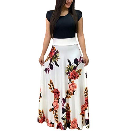 (Aublary Womens Long Sleeve Maxi Dress Round Neck Floral Print Casual Tunic Long Maxi Dress (S, White-Short)