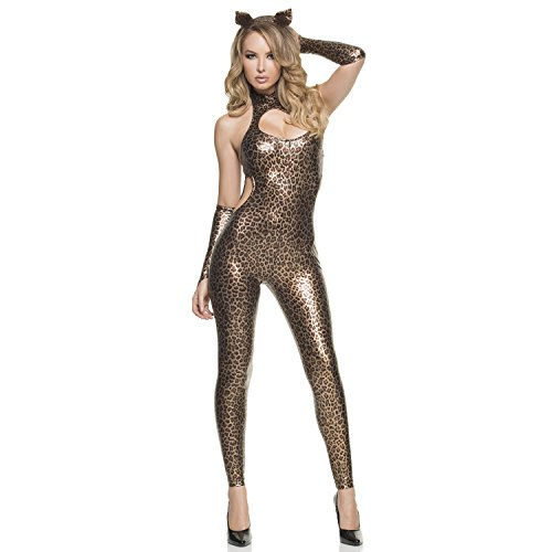 Mystery House Women's Cut-Out Cheetah, Gold/Brown/Black, Medium (Cheetah Costumes For Adults)
