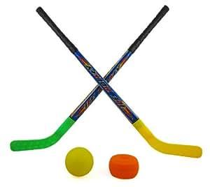 Amazon Com Sports Hockey Set For Kids W 2 Hockey Sticks Puck Amp Ball Model 959 Toys Amp Play
