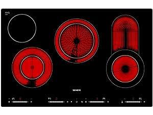 Siemens ET801SC11 hobs - Placa (Incorporado, Eléctrico, Vidrio y cerámica, Sensor, Frente, 7900W) Negro
