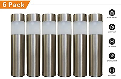LowVoltz Solar 6 Pack Solar Path Lights. Modern Stainless Steel Outdoor Garden LED Powered Lights. Water, Wind, Dust Resistant and Longest Lasting Charge.