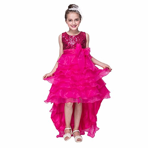 (MOMKER 3-14yrs Baby Girls Sequined Flower Party Dress Princess Dress Children Kids Clothes 9 Colors Pink)