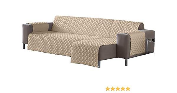 Lucena Cantos - Cubre Sofá Reversible, (Arena/Choco, Chaise-Longue 240 cm)
