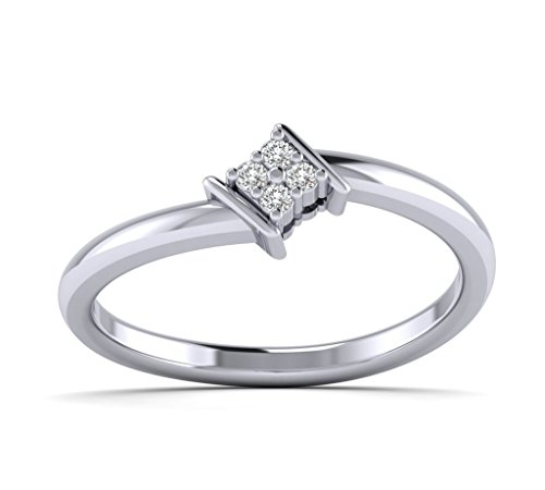 Fehu Jewel Women's 1/10ct Natural Diamonds Square Cluster Four Diamond Combination Promise Ring -