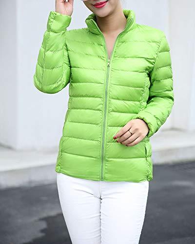 Piumini Donna Verde Collare Casuale Fit Taglia Larga Leggero Slim In Piedi FfzZwqF