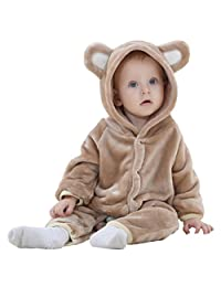 Unisex Baby Winter Clothes, Cute Bear Romper Jumpsuit Outfit with Hood Ears