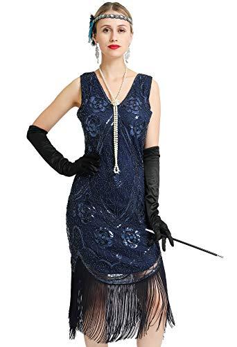 Women's Great 1920s Gatsby Costume Inspired Sequin Fringe Flapper Dress Sleeveless (Blue, Medium) ()