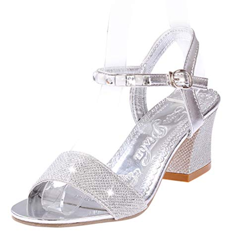 Square Heel Sole (Duseedik Women's High Heel Sandals Rhinestone Crystal Casual Square Single Dance Party Outdoor Shoes Silver)
