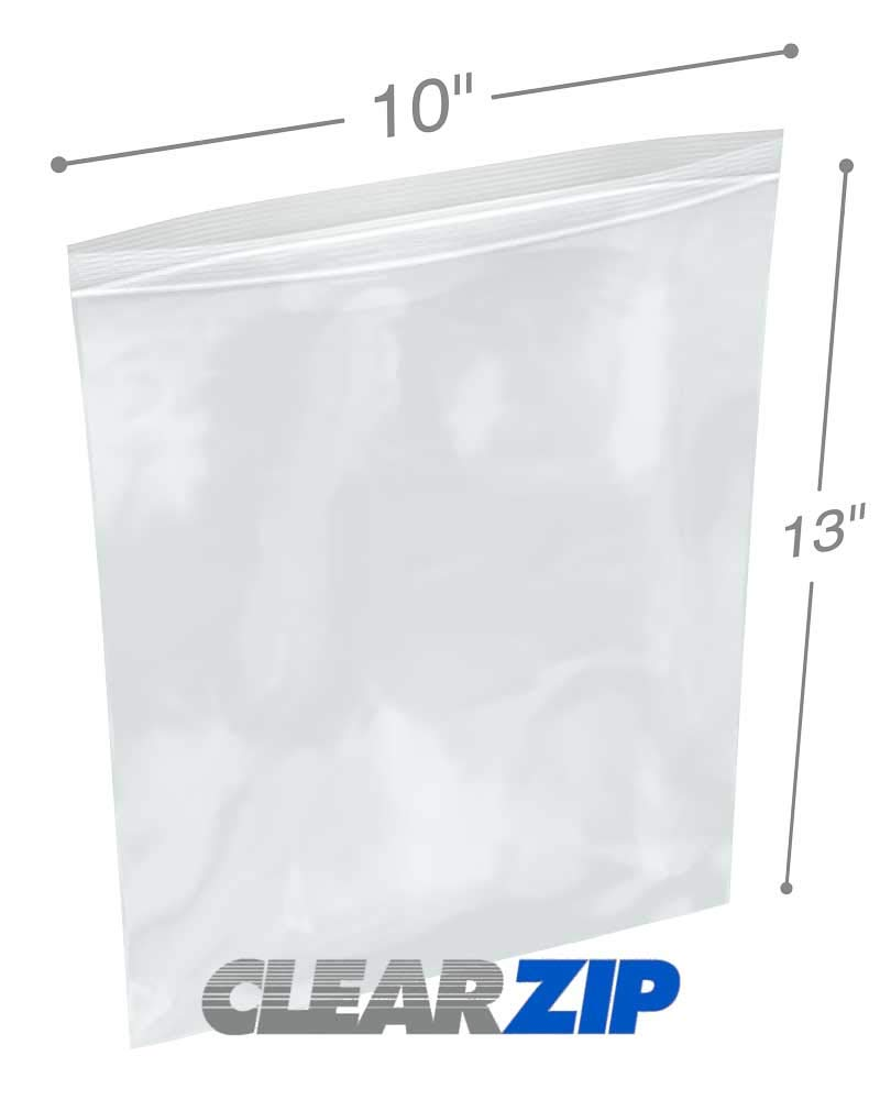 5 Cases Cleartuff 1000//Case 10 x 13 2 Mil Clearzip Lock Top Bags