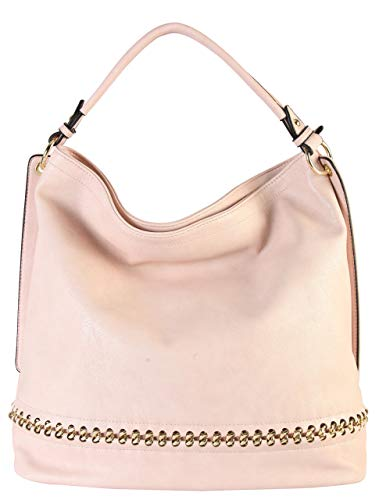 Rimen & Co. PU Leather Hobo Large Purse Bag Women Woman Handbag Accented Metal Chain on the Bottom WY-2671 (PInk)