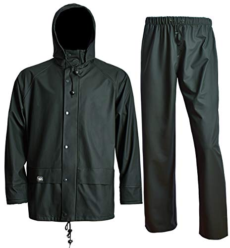 Rain Jacket with Pants for Men Women Waterproof Foul Weather Gear 3-Pieces Heavy Duty Suits (XX-Large, Dark Green) ()