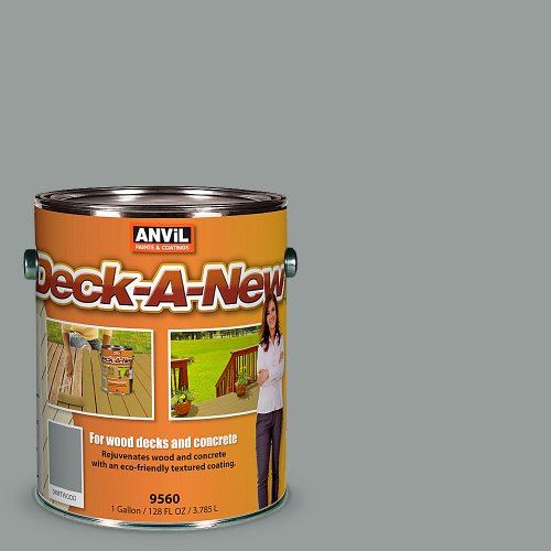 Anvil Deck-A-New Rejuvenates Wood Concrete Decks Premium Textured Resufacer Driftwood 1 Gallon