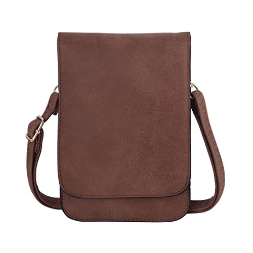 Bosam Matte Faux Leather Cell Phone Bag Pouch Woman Cross-Body Purse case with Touch Screen Window and Shoulder Strap (Brown)