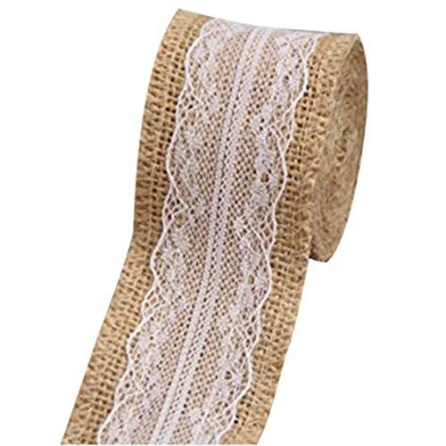 Streamers Confetti - Nhbr 2 5m Hemp With Lace Trims Tape Rustic Wedding Decor Wave Edge Flowers - Decor Scrapbook Self Tape Satin Paper Cloth Collar Pvc ()
