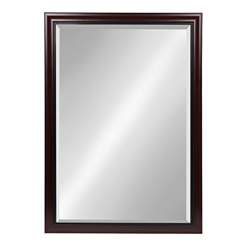 Kate and Laurel Dalat Cherry 28x40 Framed Beveled Wall (Walnut Bathroom)