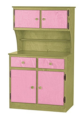 Children's Sink-Stove, Hutch, Fridge Combo -Candy Shop Collection- Green and Pink Color Amish Bedroom Hutch