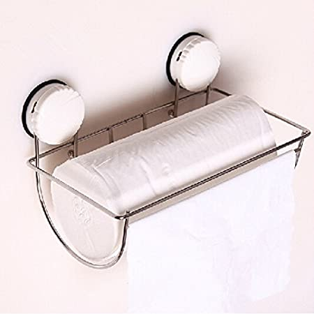 Amazon.com: Roll Holder Bathroom Suction Wall Strong Suction Cup Paper Towel  Holder Stainless Steel Toilet Paper Holder Hand Cartons Box Bathroom Tissue  ...