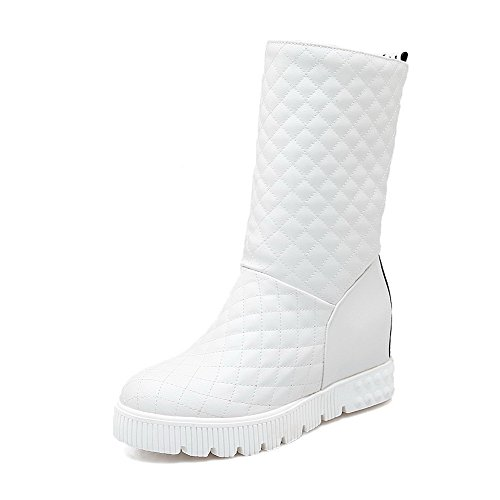 Allhqfashion Women's Pull On Round Closed Toe Kitten Heels Mid Top Boots White
