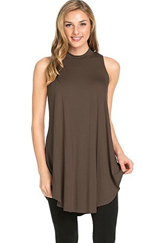 12 Ami Basic Solid Long Flowy Tank T-Shirt Tunic Dark Brown (Night Long Tank)