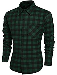 Mens Plaid Shirts, Fashion Casual Cotton Turn Down Collar Button Down Slim Fit Top
