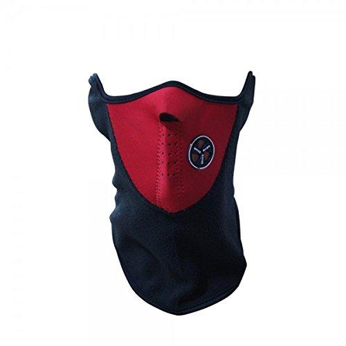 Maschera protettiva antivento in pile antifreddo per sport moto bicicletta copri collo e orecchie. MEDIA WAVE store (Rosso)