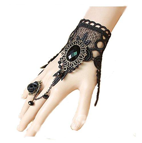 UdobuyGothic Retro Lace Slave Bracelet With Ring Wedding Wristband Black Flower Ring Bracelet